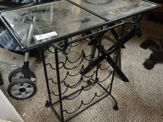 Glass Top Table with Wine Bottle Storage