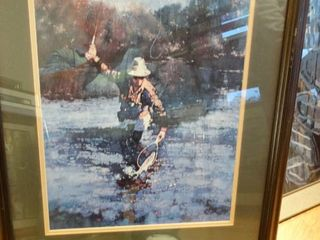 Awesome lg framed fly fisherman print