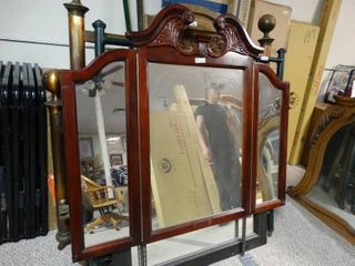 Big fold in side mirrors in a beautiful wooden frame