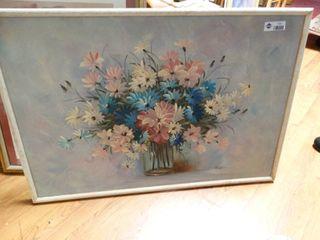 large framed oil on canvas  signed