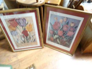 2 framed Tulip Time wall art