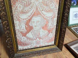 Antique framed handmade lace presidential art
