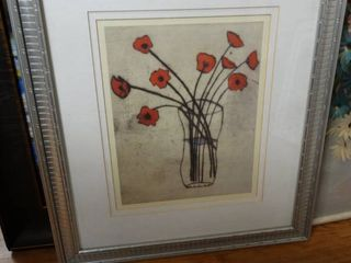 Framed wall art  Spare red poppies  signed by artist