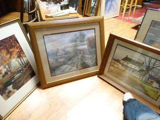 3 various framed wall art pieces