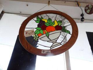 Stained glass art w  oak frame