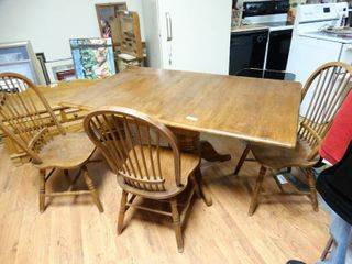 Awesome wood drop leaf table w 3 wooden chairs