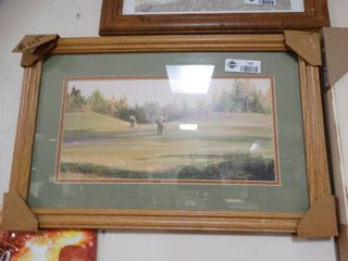Framed golfing print