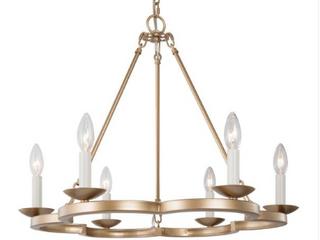 Plum 6 light Chandelier Wagon Wheel Candle Style Modern Pendant light   Natural Brass