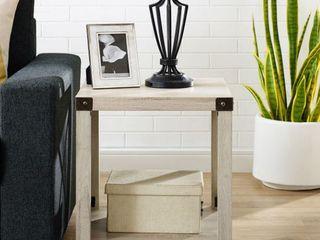 18 inch Metal X Side Table in White Oak