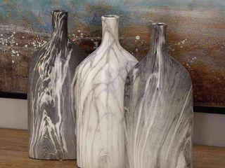 Ceramic Bottle Vases Gray Cream 13  3pk   Olivia   May