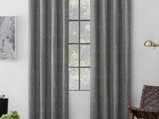 96 x52  Elkay Woven Geometric Pattern Total Blackout Grommet Curtain Panel Gray   Scott living