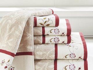 Home Essence Monroe Embroidered Cotton Jacquard 6 Piece Towel Set