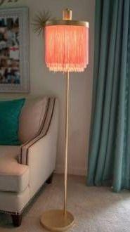 Framboise Fringe Shade floor lamp  gold