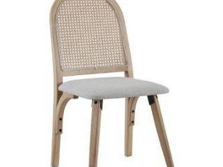 Art  leon Rattan linen Fabric Cane Dining chair