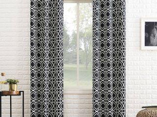 84 x40  Barnett Trellis Blackout Grommet Top Curtain Panel Black   Sun Zero