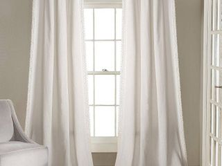 120 x54  Rosalie Rod Pocket light Filtering Window Curtain Panels White   lush DAccor