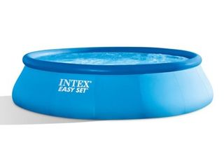 Intex 15  x 48  Inflatable Easy Set Above Ground Swimming Pool  And Pump Used