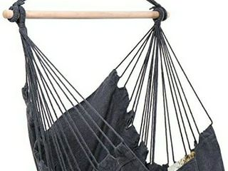 Y  STOP Hammock Chair Hanging Rope Swing   Max 330 lbs   Quality Cotton Weave for Superior Comfort   Durability  Grey