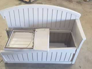 Plastic Storage Bench With Opening Seat For Supplies And Outdoors  Has Two Right Side Panels And No left Panels 52in X 23in X 34
