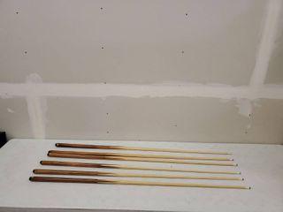 6 Pool Sticks Brown And Tan 1Pc 18oz 2Pcs 19oz 2Pcs 20oz 1Pc 21oz