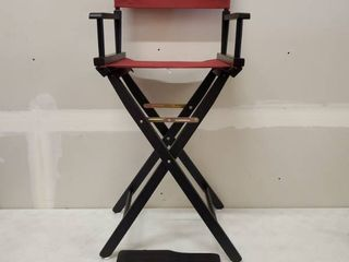 Director Chair Frame Black W  Burgundy Seat And Backrest 30  Tall