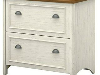 Bush Furniture Stanford 2 Drawer lateral File Cabinet in Antique White and Tea Maple 31 89 x 20 67 x 30 72 inches