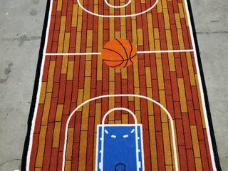 Kids Floor Mat  Slip Resistant 5Ft x 39 8n Width Basketball Court Design