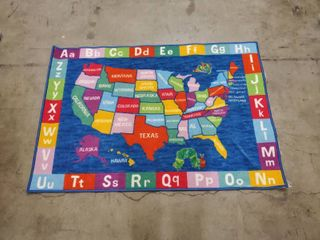 The World Of ERIC CARlE  Kids Floor Mat  United States  And ABC s Slip Resistant 51in long x35in  Width  Multi Color