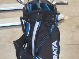 STRATA Men s Golf Packaged Set  9 Clubs  Bag  Headcovers  Woods Irons Hybrid Right Handed