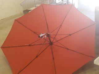 9ft Red Patio Umbrella No Base Stands 6ft Tall  Crank Retractable Cord Is Broken