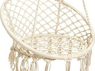 Best Choice Products Hanging Macrame Rope Swing Chair w  Fringe Tassels