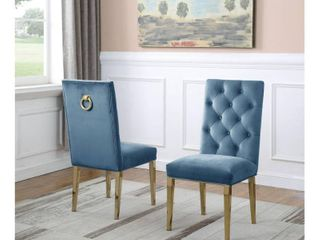 Best Quality Furniture Velvet with Button Tufted Back and Gold Stainless Steel legs Counter Height Chairs Retail 516 99