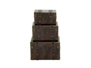 Wood leather Cases  Set of 3  Retail 175 99