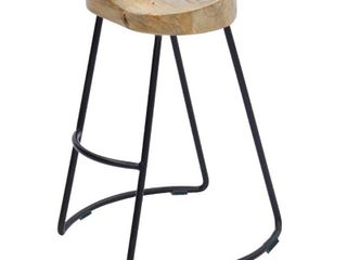 Wooden Saddle Seat Barstool with Metal legs  large  Brown and Black Retail 86 99