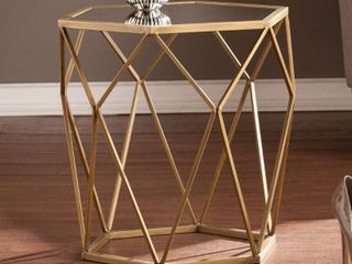 Silver Orchid Grant Antiqued Gold Mirrored Geometric Accent Table Retail 84 38