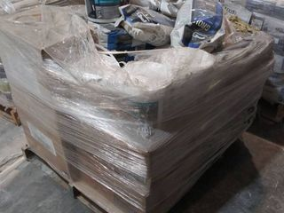 mixed pallet of grout  mastic  and mortar additive