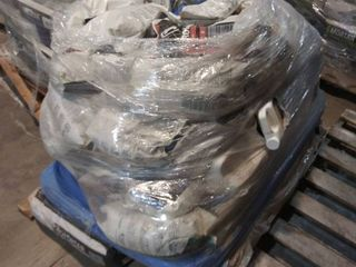 mixed pallet of grout  mortar  self leveling underlayment primer  and patch
