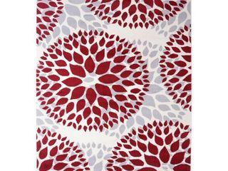 Modern Floral Design Red 3 1  x 5  Indoor Area Rug