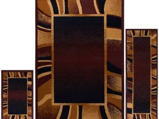 Home Dynamix Ariana Collection 7542 500 3 Piece Ultra Soft   Super Durable Area Rug Set  Brown