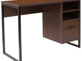 Flash Furniture Northbrook Rustic Coffee Wood Grain Finish Computer Desk with Black Metal Frame