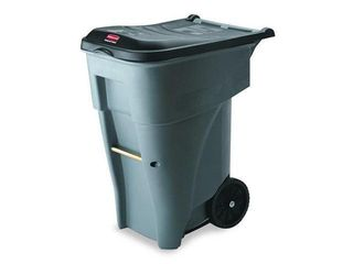 Rubbermaid Commercial Brute Rollout Heavy Duty Waste Container  Square  Polyethylene  65 gal  Gray  RCP9W21GY