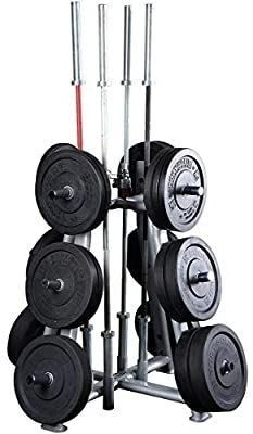 Body Solid SWT1000 Pro Clubline Olympic Weight and Bar Holder  Storage for Home and Commerical Gym  Black NOT FUllY INSPECTED OUTSIDE BOX  MAY BE INCOMPlETE