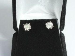 Beautiful White Diamond Solitaire Earrings, 14k