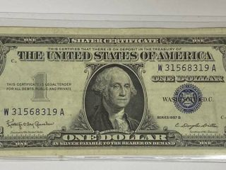 ONE DOllAR SIlVER CERTIFICATE   SERIES 1957 B   FINE   CRISP CONDITION