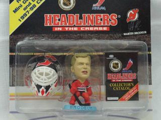 Martin Brodeur Headliners In The Crease 1997 98 With Authentic Mini Goalie Mask and Goalie