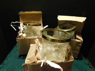 Crackle Glass CandleHolders  3 ea