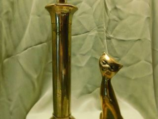 Goldtone Candle Holder   Siamese Cat