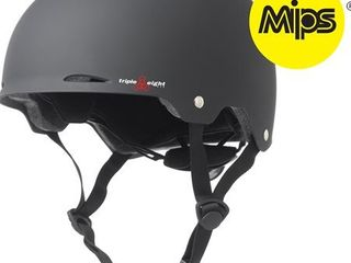 Triple Eight Gotham Dual Certified MIPS Skateboard and Bike Helmet  Black Matte  Small   Medium
