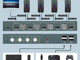 KVM Switch HDMI 4 Port Box  UHD 4K 30Hz   3D   1080P