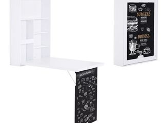 HOMCOM Wall Mounted Foldable Desk for Writing or Computer  with a Blackboard for Notes  Book Storage  and Space Saving  Retail 107 99
